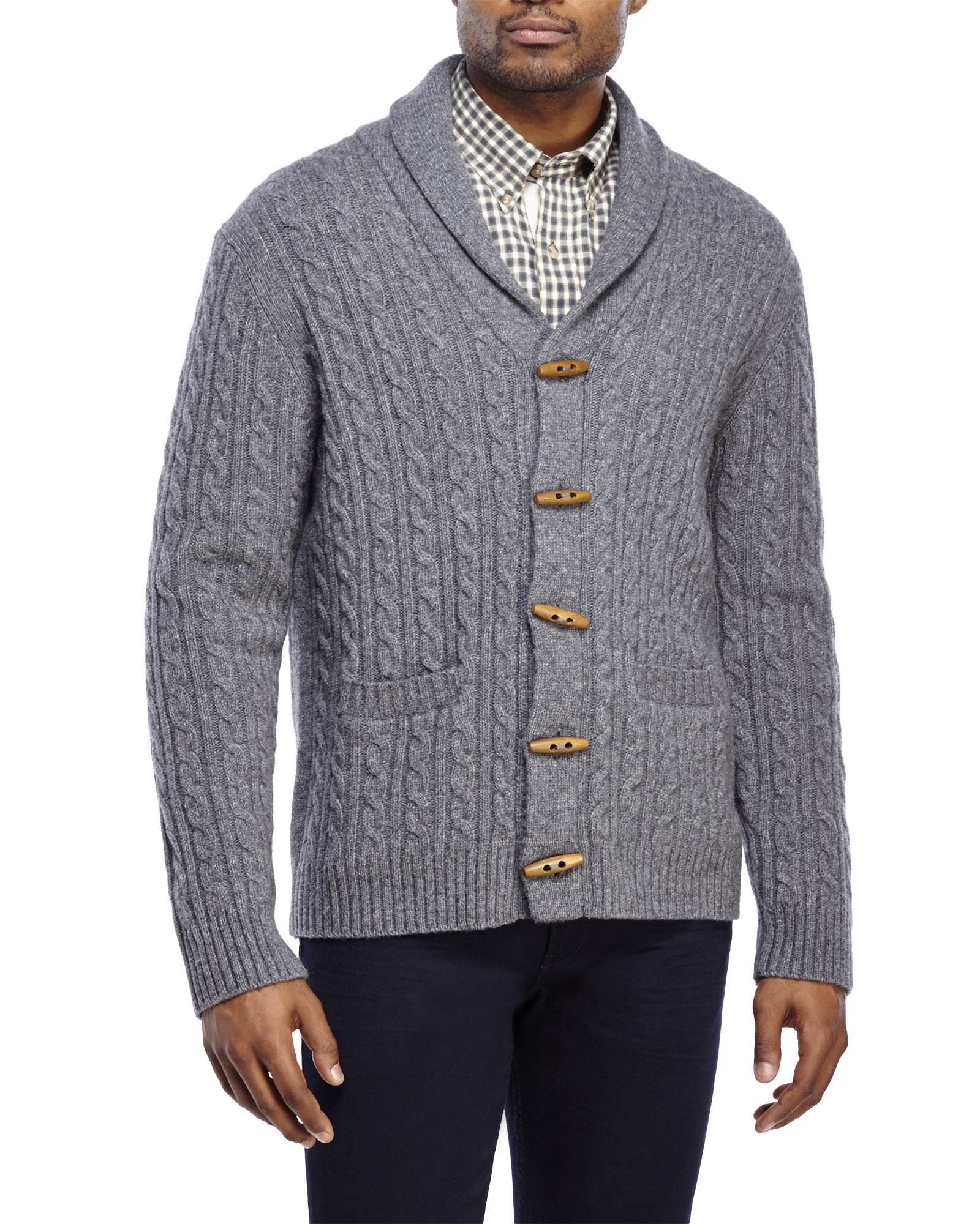 Barque Grey Cable Knit Toggle Wool Cardigan in Gray for Men | Lyst