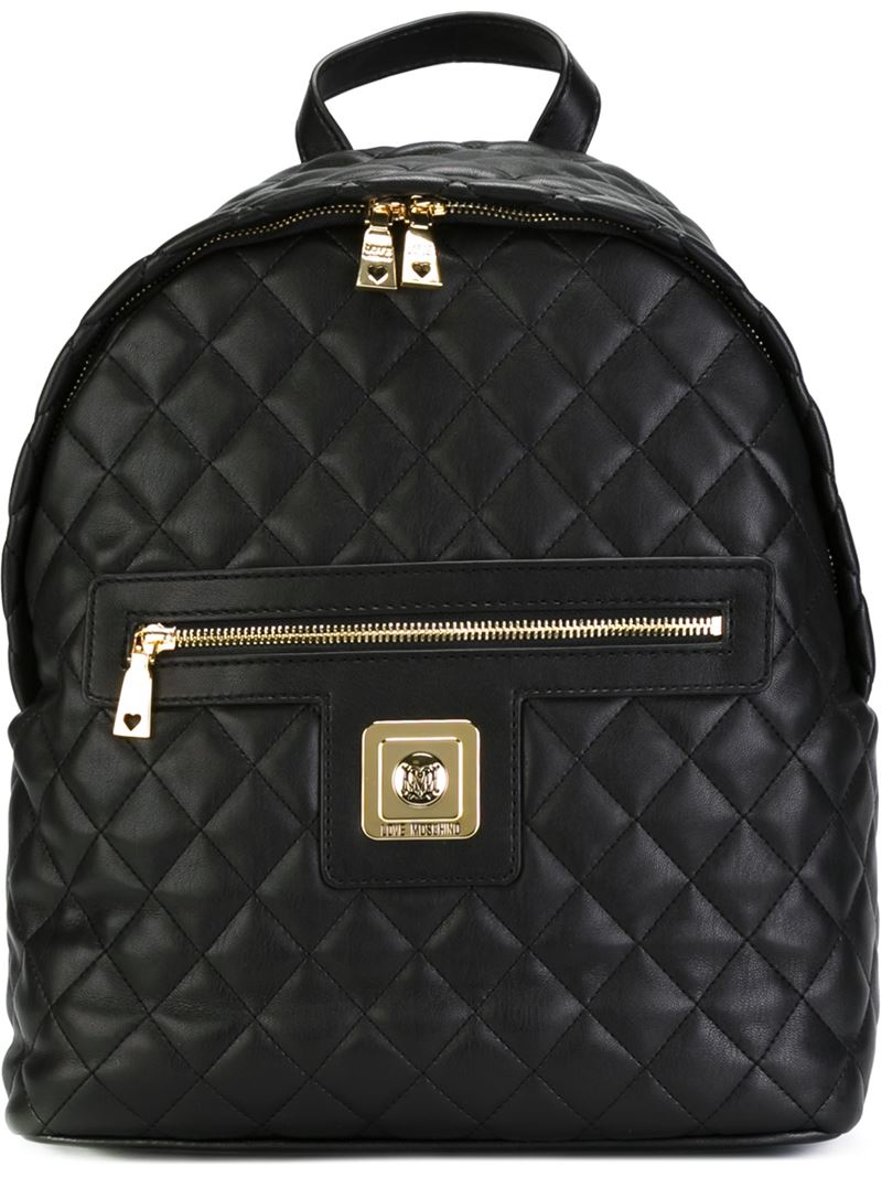 Lyst Love Moschino Quilted Backpack In Black