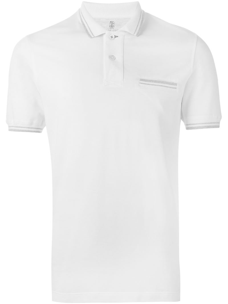 Brunello cucinelli chest pocket polo shirt in natural for for Men s polo shirts with chest pocket