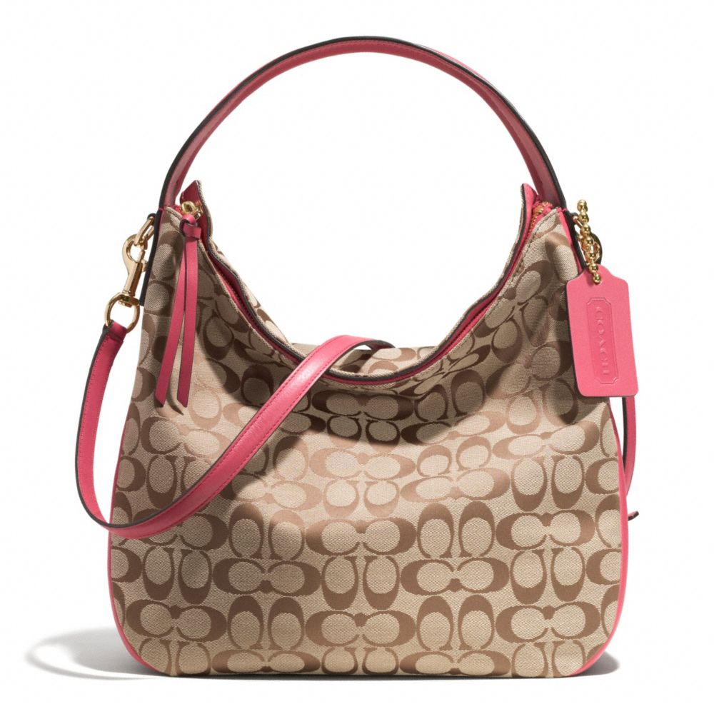 lyst coach bleecker sullivan hobo bag in signature fabric in pink rh lyst com