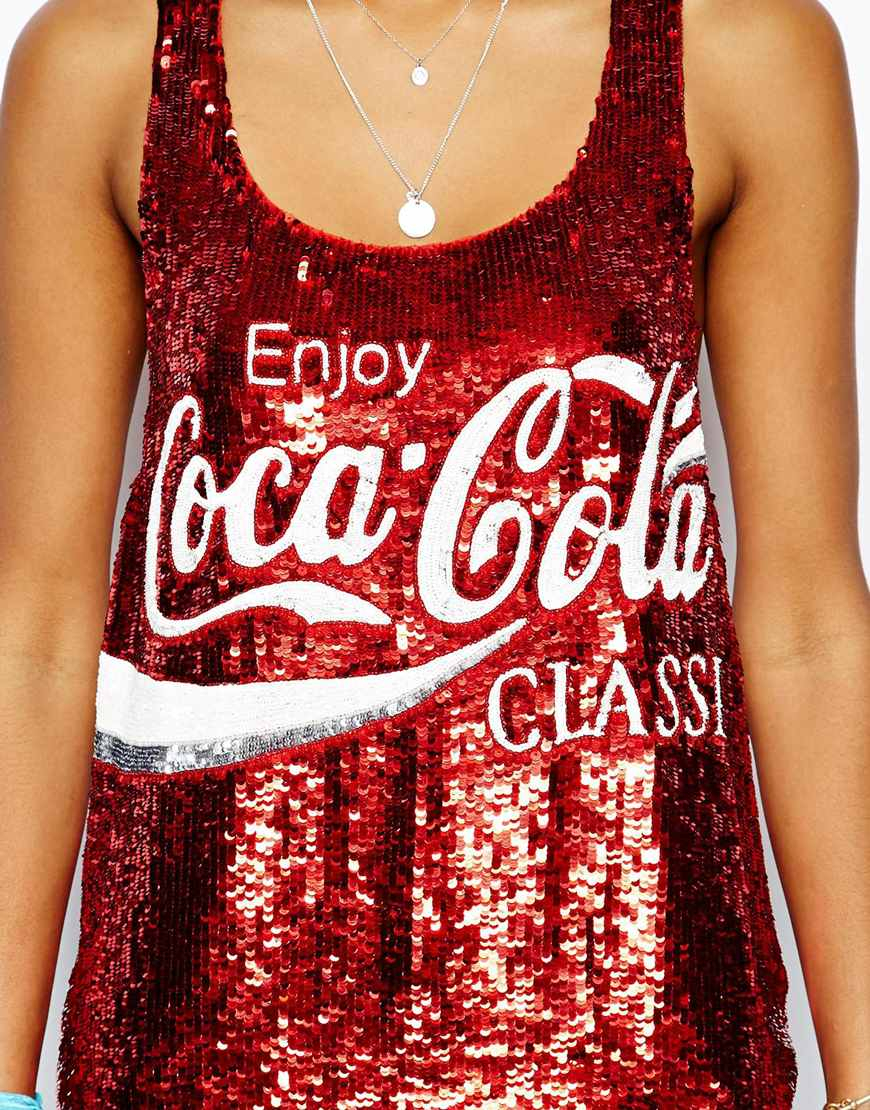 bf90da40 Ashish Tank in Enjoy Coca Cola Sequin - Lyst