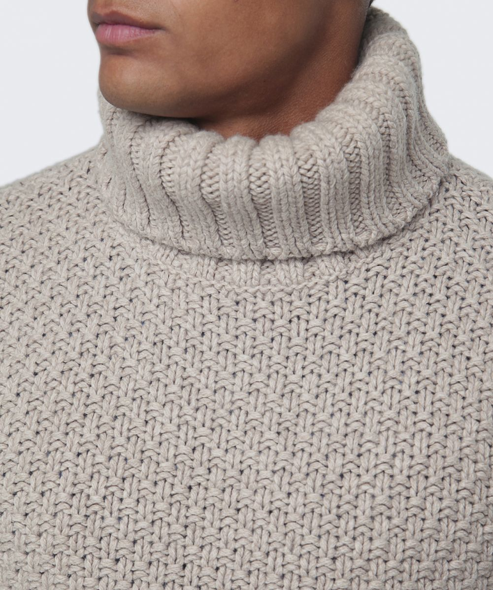 Knitting Pattern Roll Neck Jumper : Gant Chunky Basketknit Roll Neck Jumper in Natural for Men Lyst