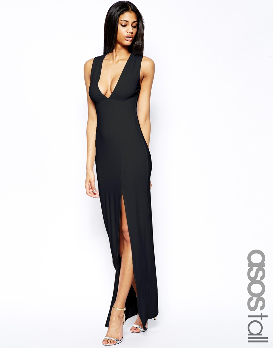 Lyst Asos Deep Plunge Split Maxi In White