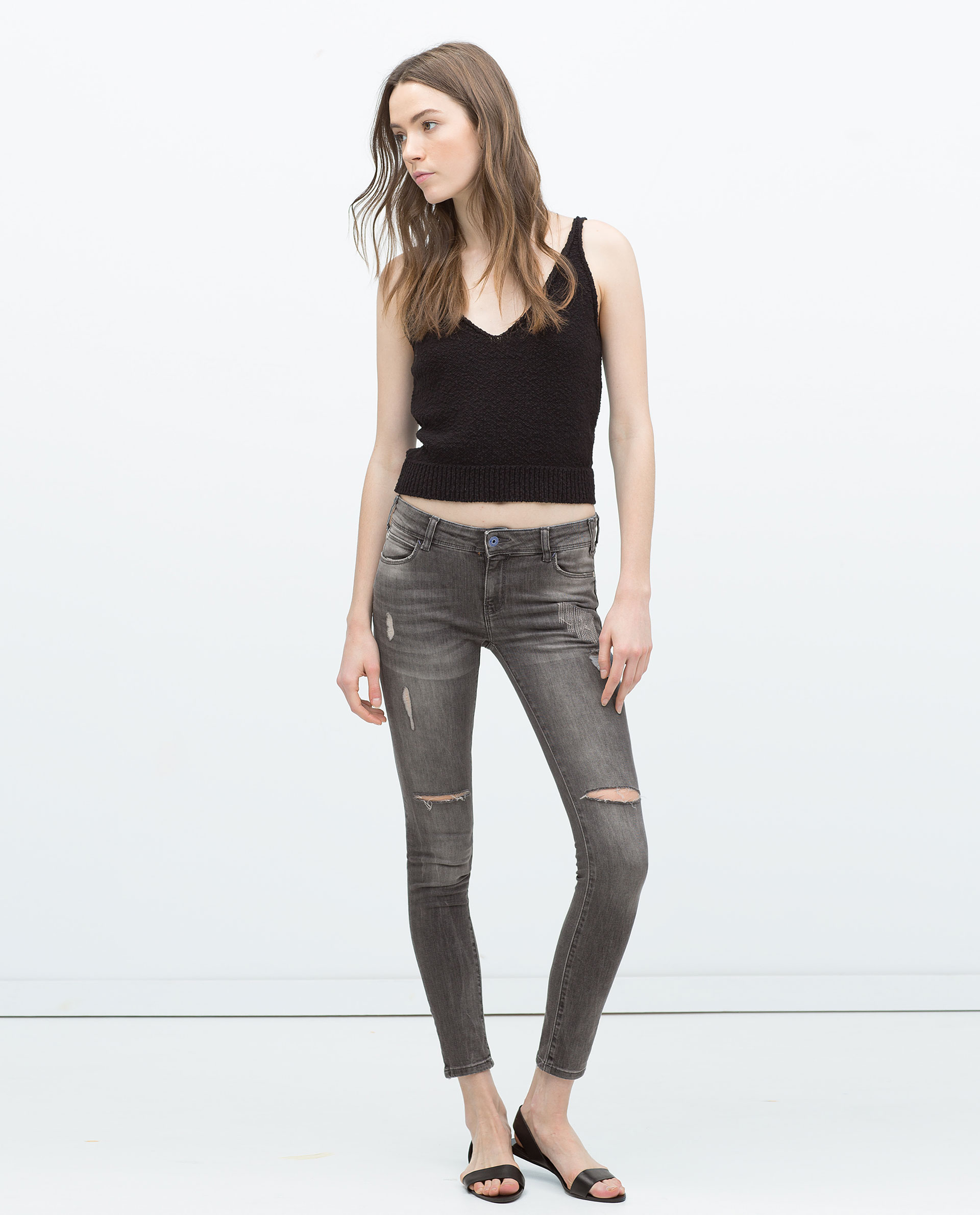 Zara Distressed Jeans in Gray | Lyst