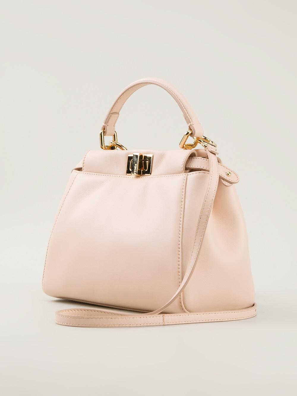Fendi Peekaboo Small Tote Bag In Pink Lyst