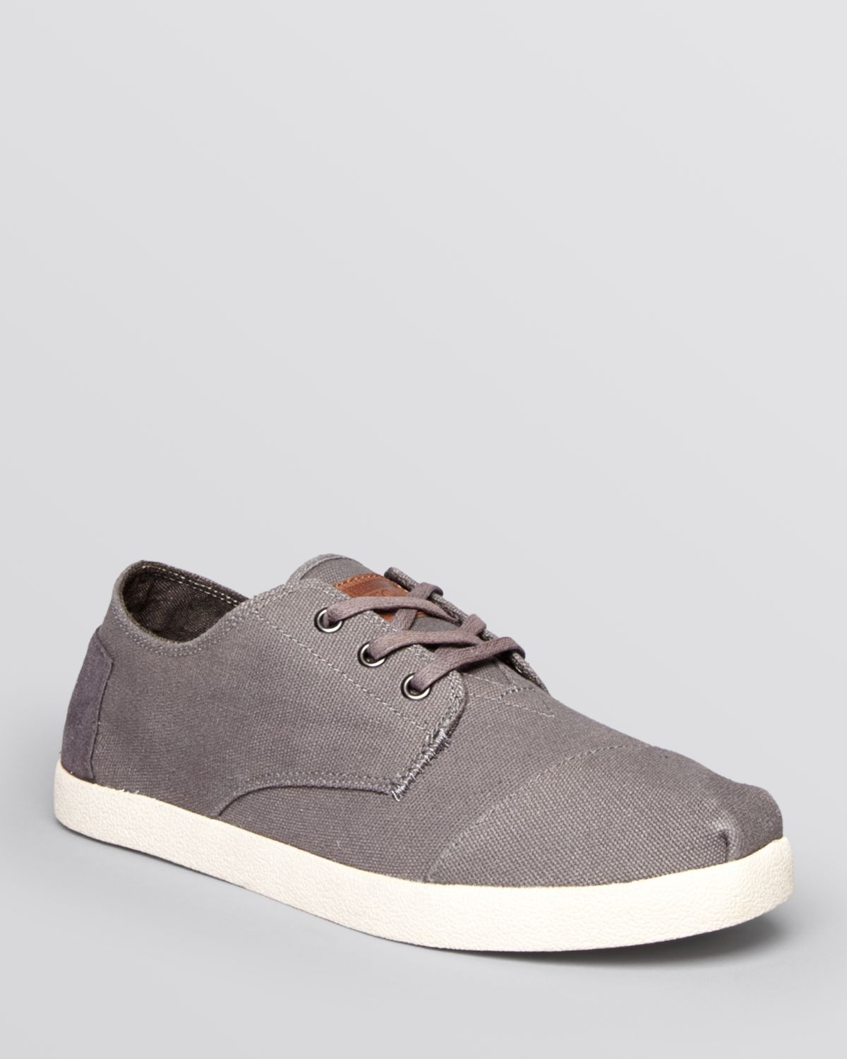 toms paseo canvas lace up sneakers in gray for grey