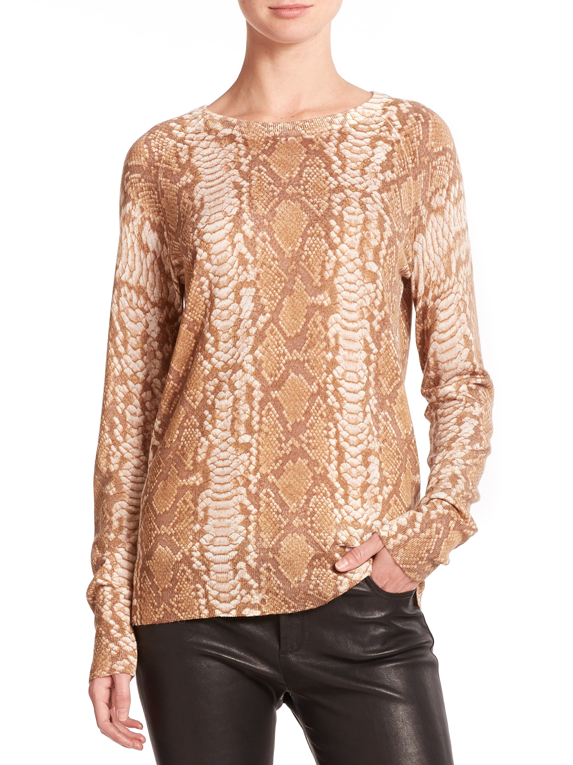 Equipment Sloan Printed Cashmere Sweater in Natural | Lyst