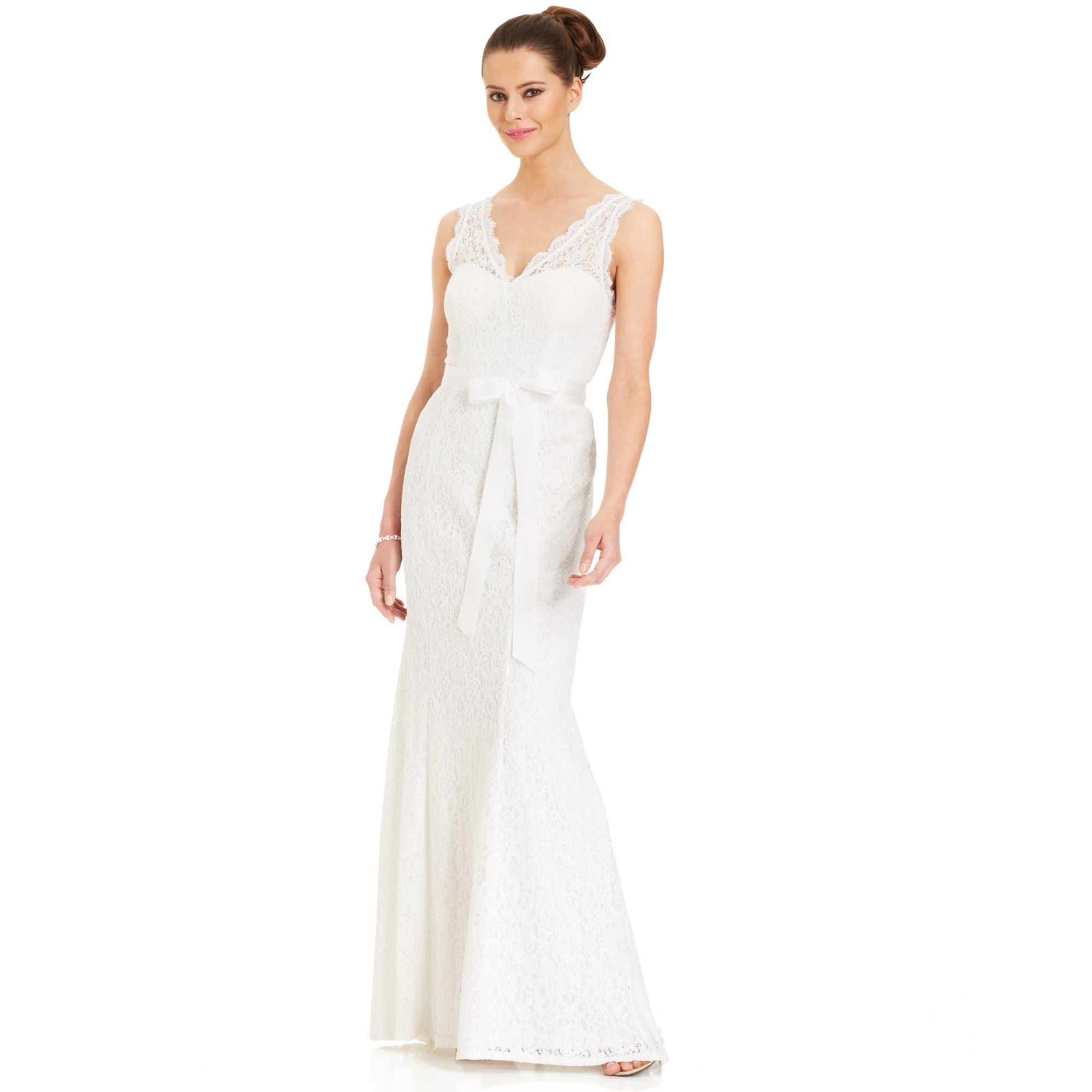 Lyst - Adrianna Papell Sleeveless Illusion Lace Gown in White