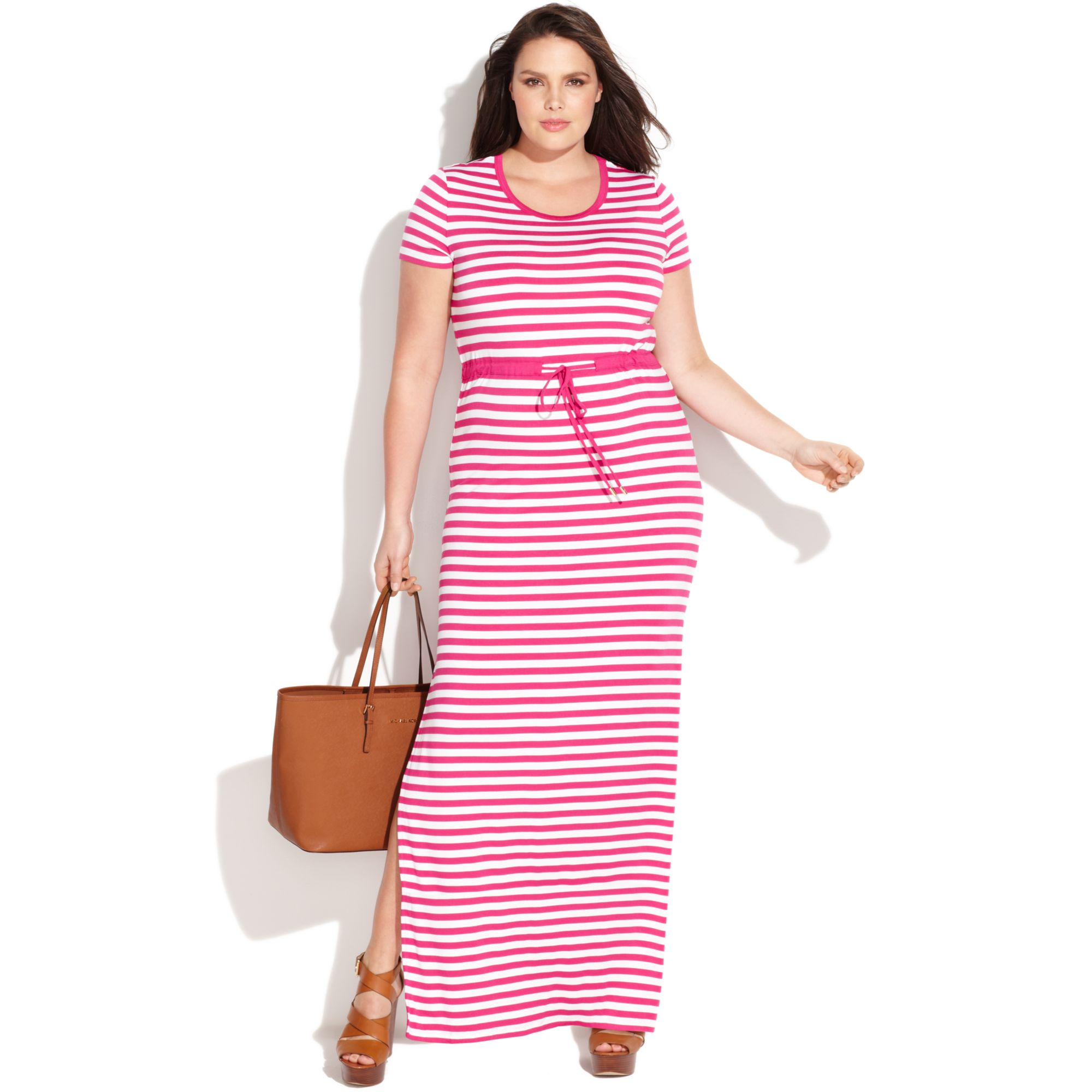 Michael Kors Plus Size Short Sleeve Striped Maxi Dress in White - Lyst