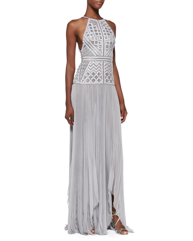 J. Mendel Beaded Drop-Waist Halter Gown