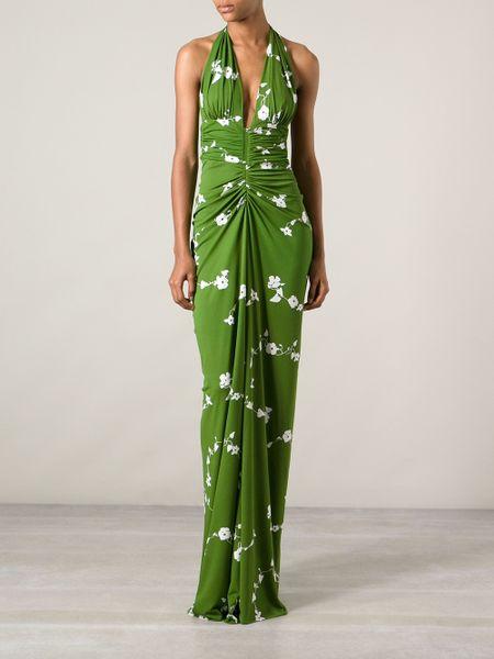 Michael Kors Floral Print Halterneck Dress In Green Lyst