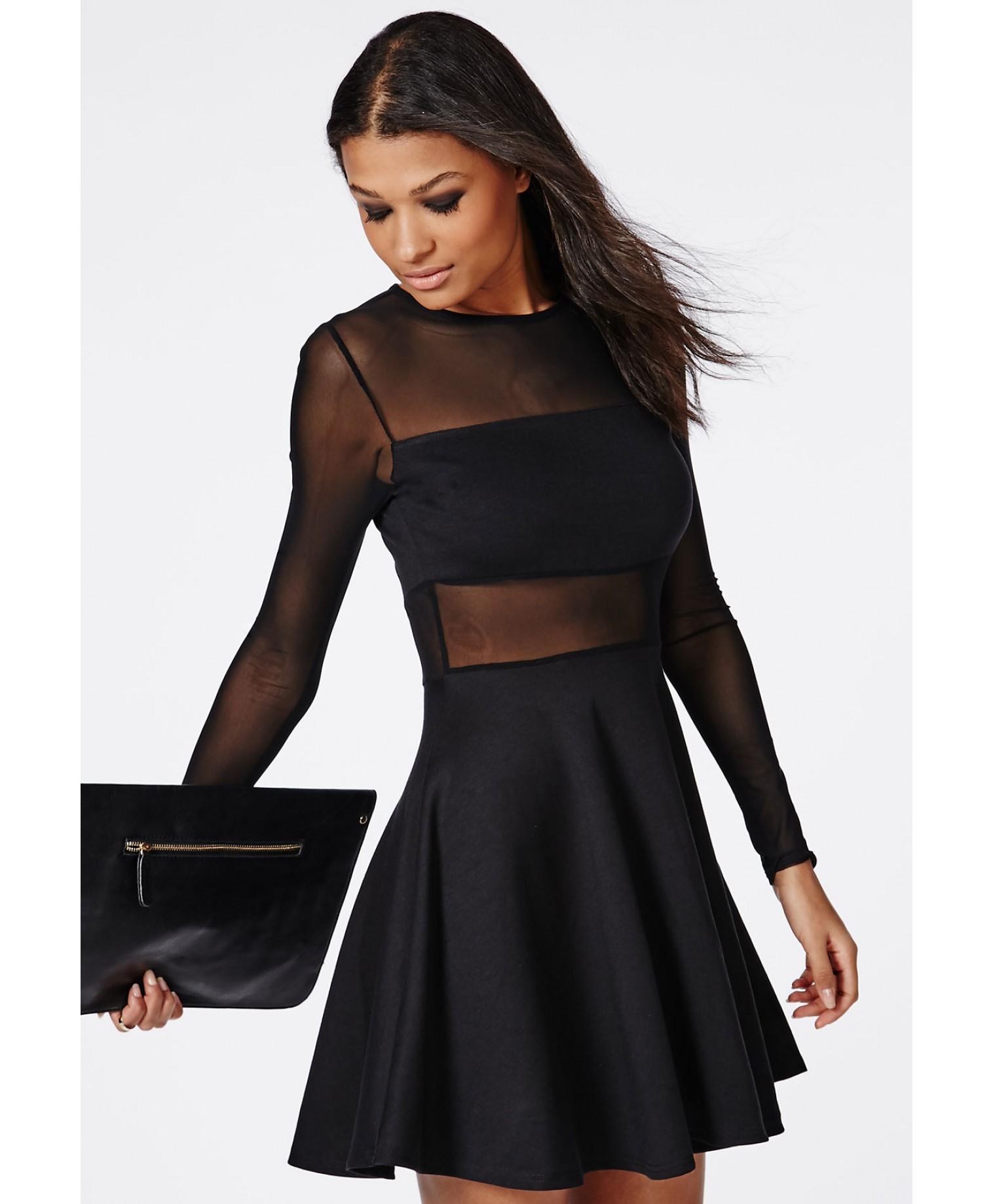 long sleeve mesh dress in black « Bella Forte Glass Studio