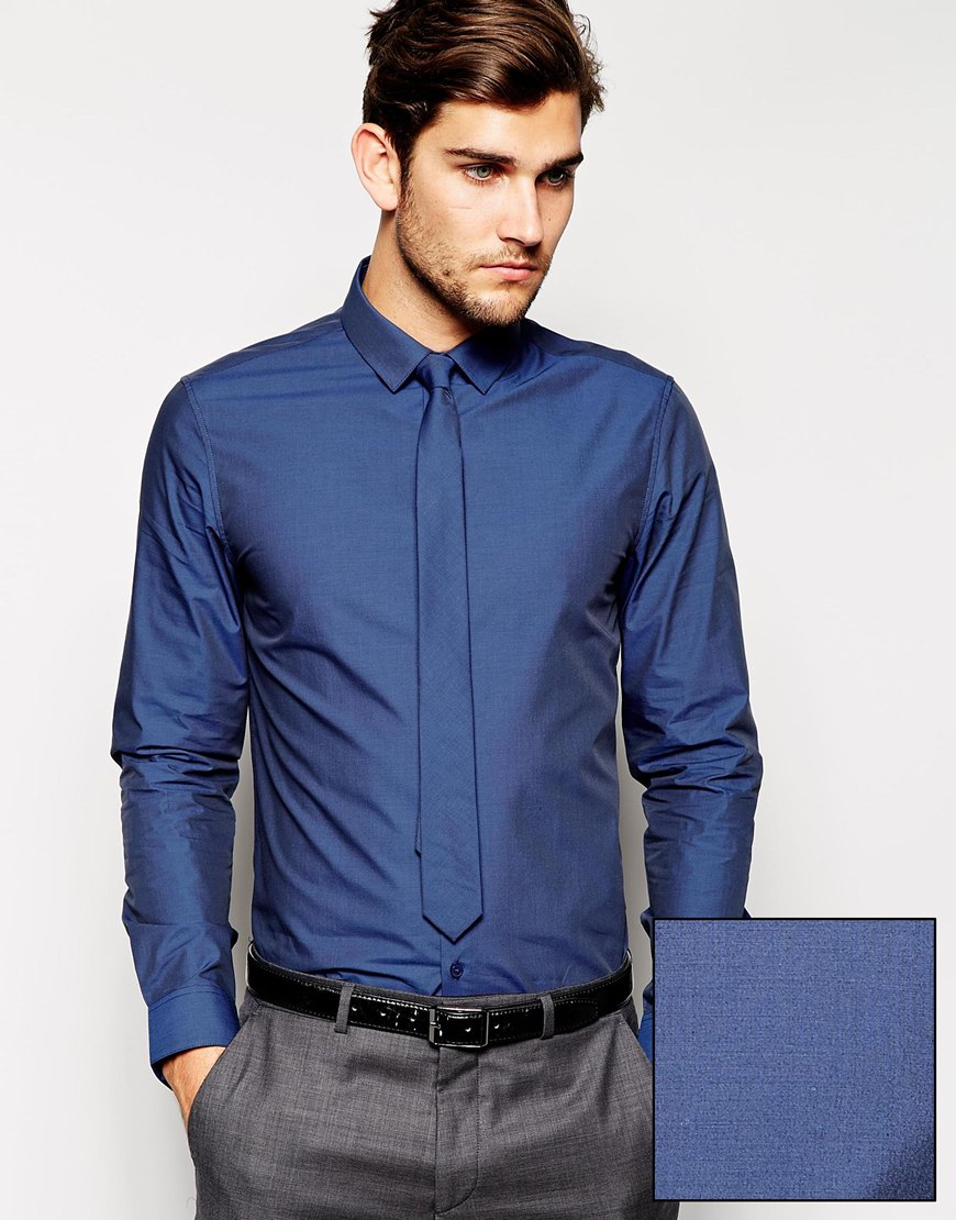 Lyst asos smart shirt and tie set in tonic in blue for men for Shirt and tie for men