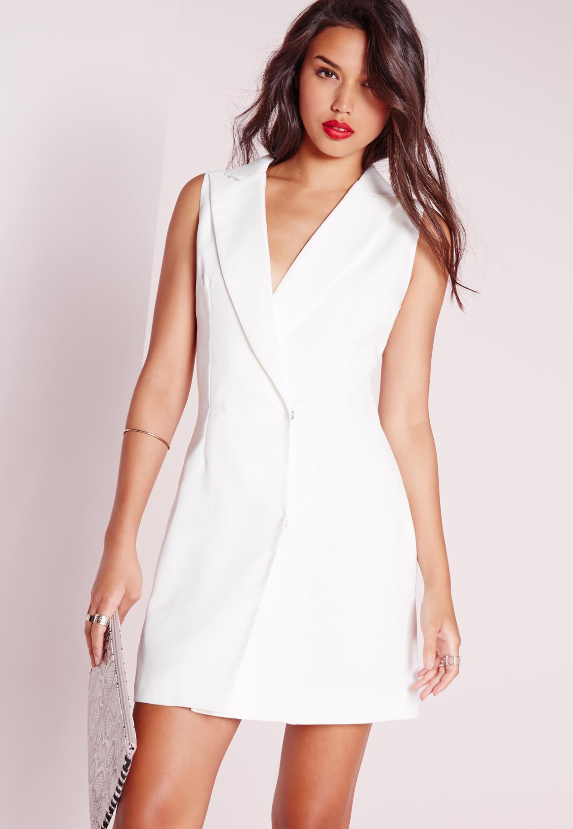 e7ff84ff0b Lyst - Missguided Wrap Over Blazer Dress White in White