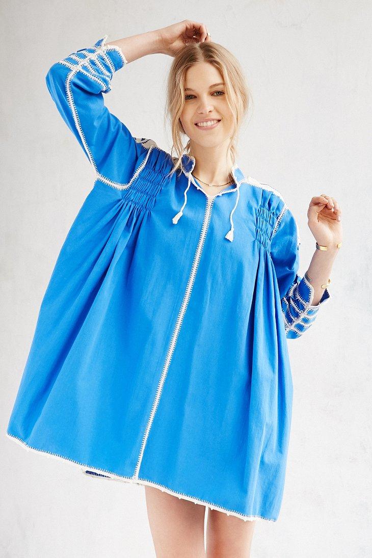 Lyst Carolina K Oaxaca Crochet Whipstitch Dress In Blue