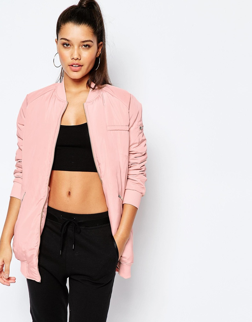 Missguided Longline Padded Bomber in Pink | Lyst