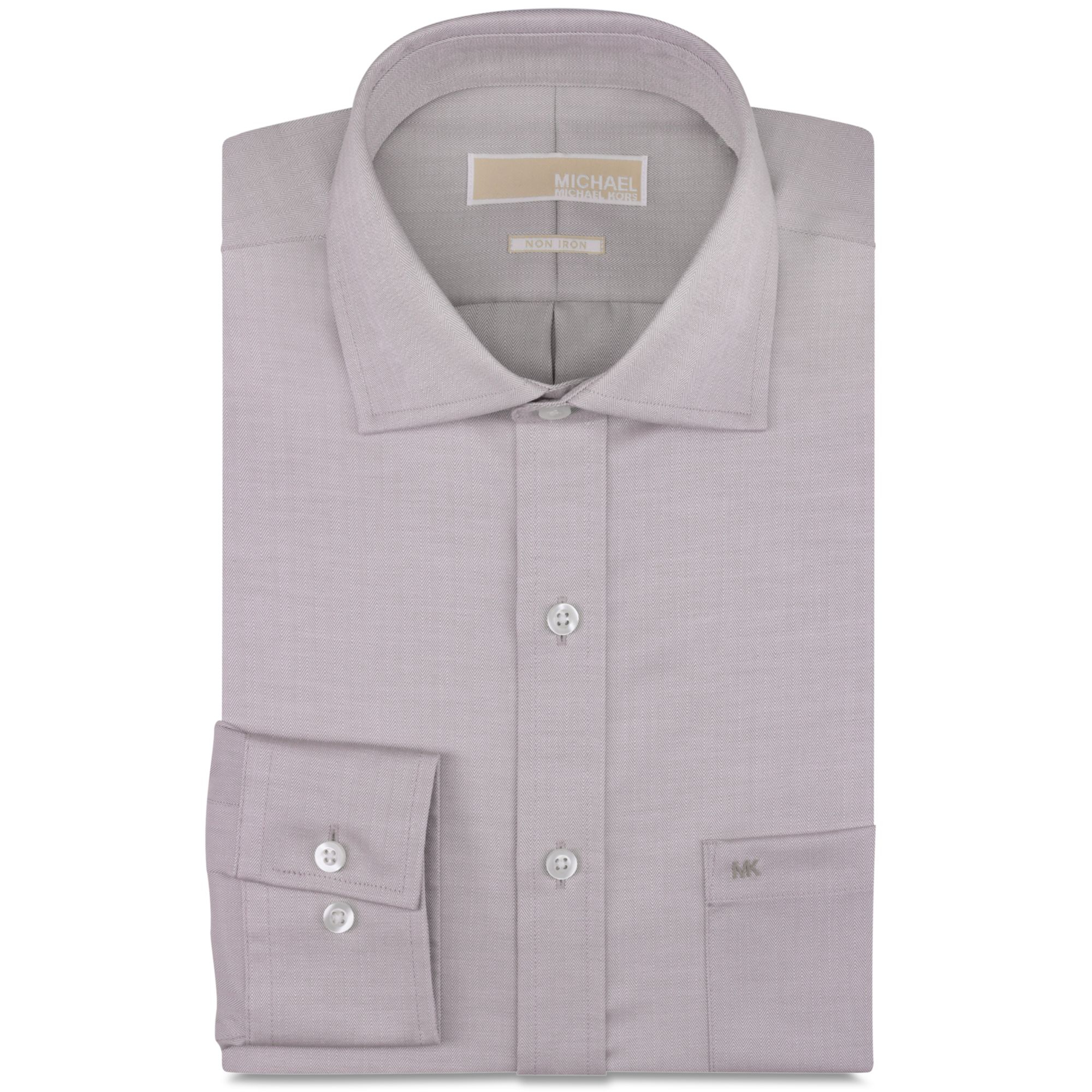 Michael kors michael no iron chino solid dress shirt in for No iron dress shirts for men