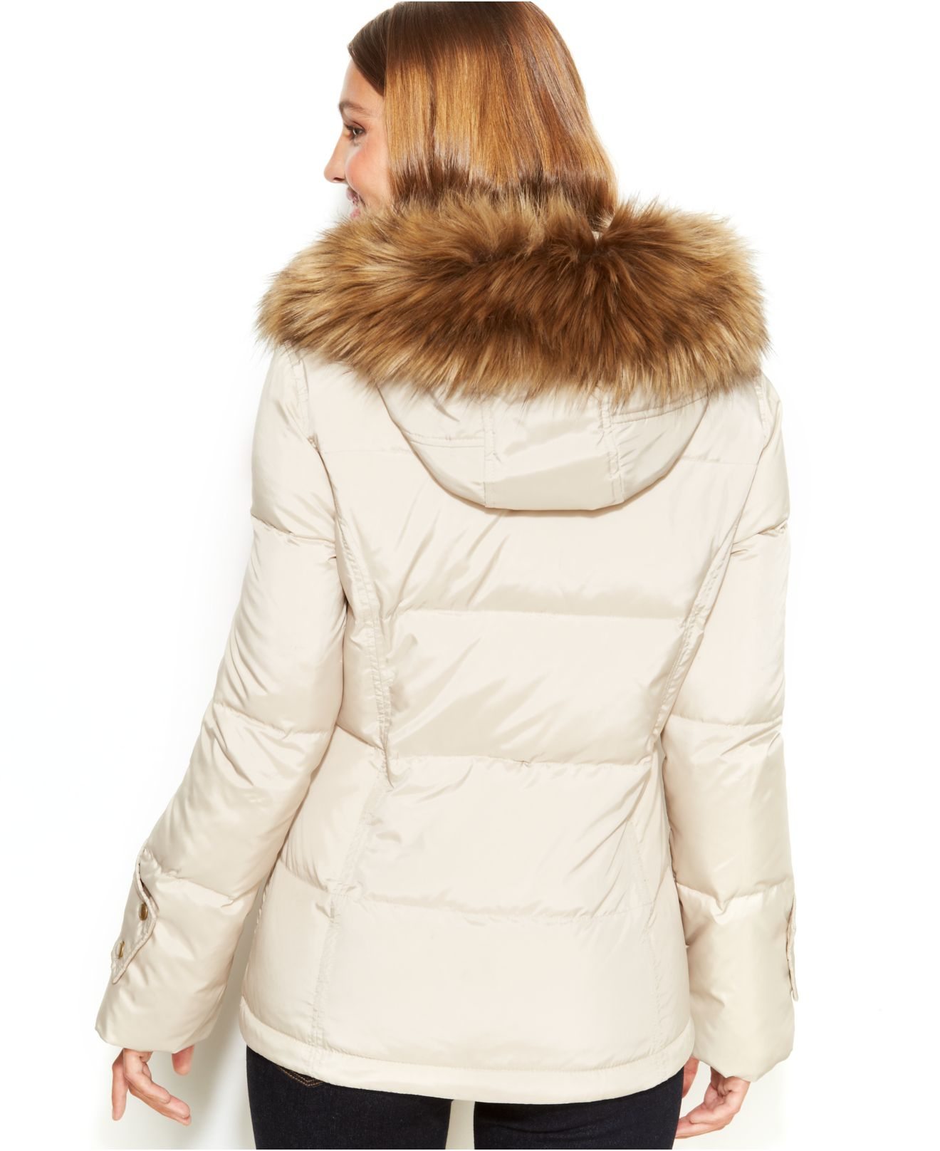 Lyst - Calvin Klein Hooded Faux-Fur-Trim Quilted Puffer ...