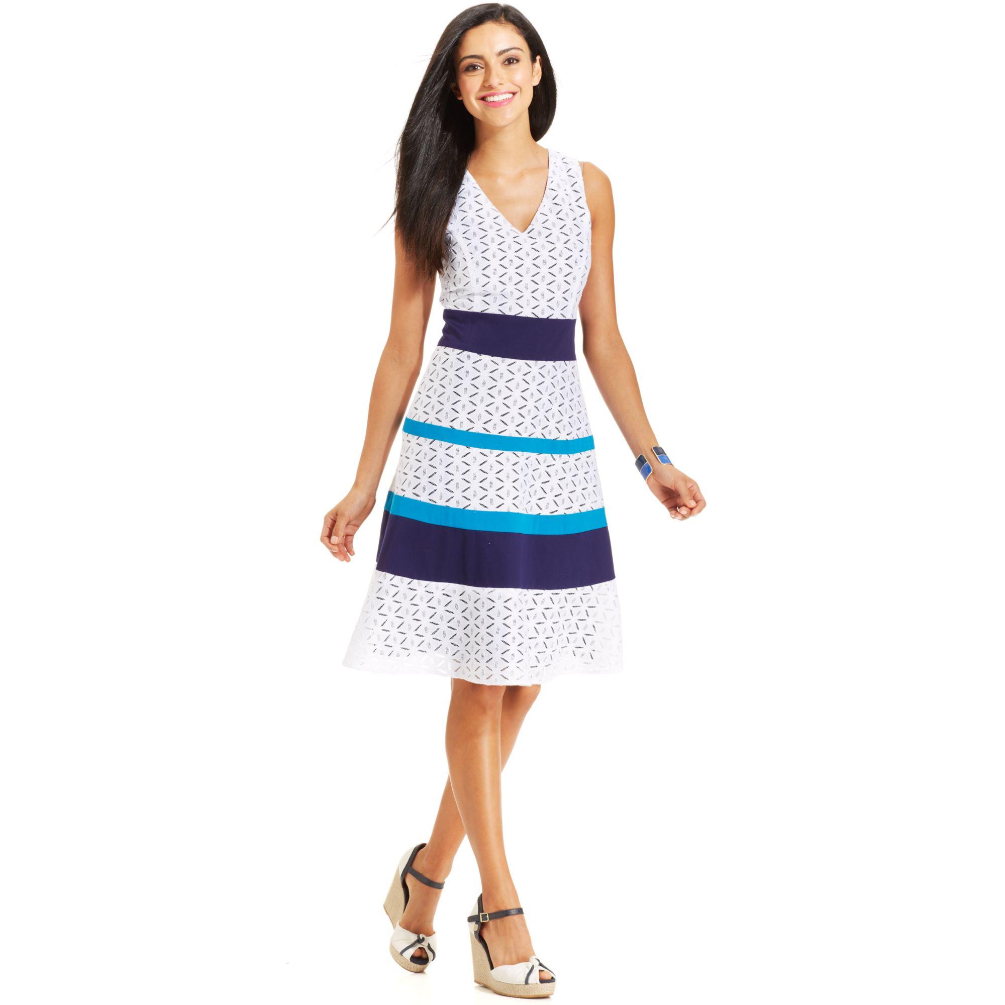 Lyst Anne Klein Petite Sleeveless Lace Striped Dress In Blue