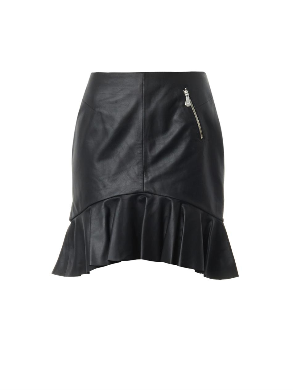 Mcq Frill-hem Leather Skirt in Black | Lyst