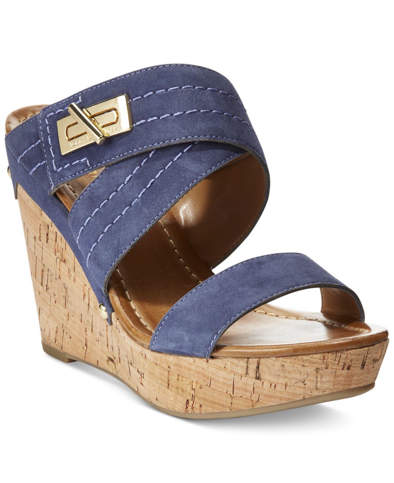 Tommy Hilfiger Mili Wedge Sandals In Blue Lyst
