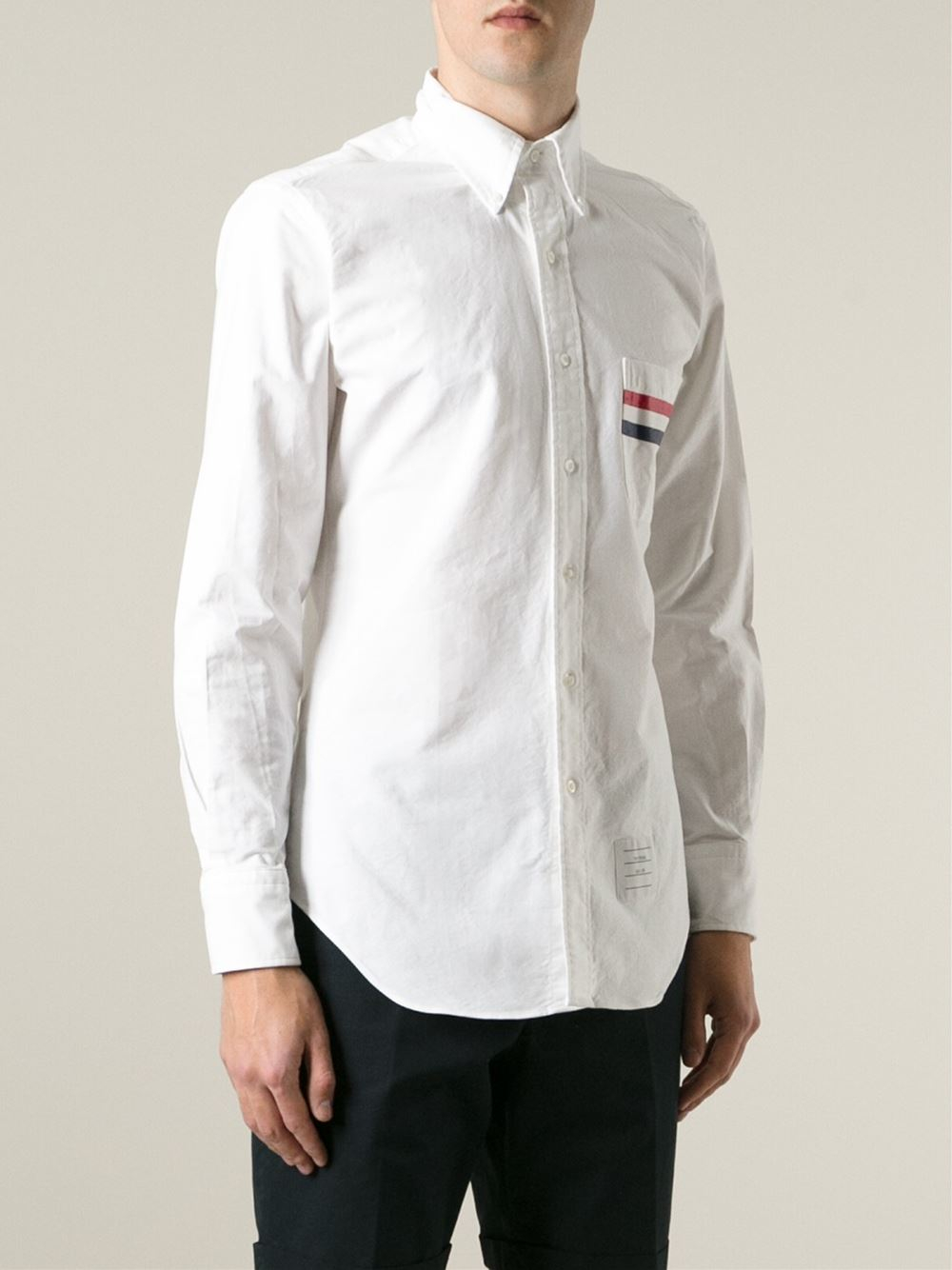 Thom browne pocket stripes detail shirt in white for men for Thom browne white shirt