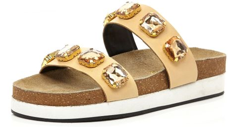 River Island Nude Jewelled Double Strap Mule Sandals In