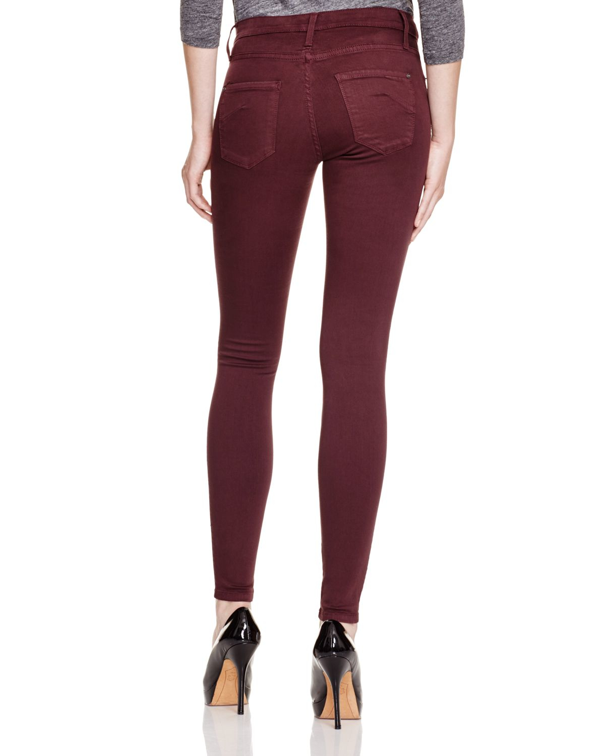 Cool Dark Red Denim Stretch Skinny 2016 Spring Fashion Female Jeans Pants