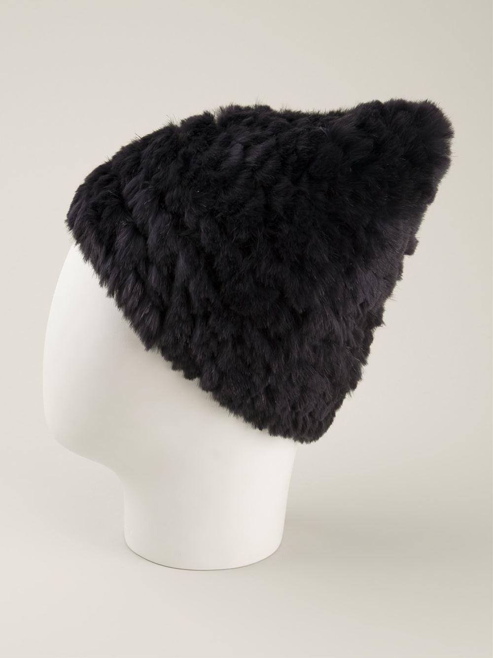 e5de872b5265 Lyst - Meteo by Yves Salomon Rabbit Fur Beanie in Black