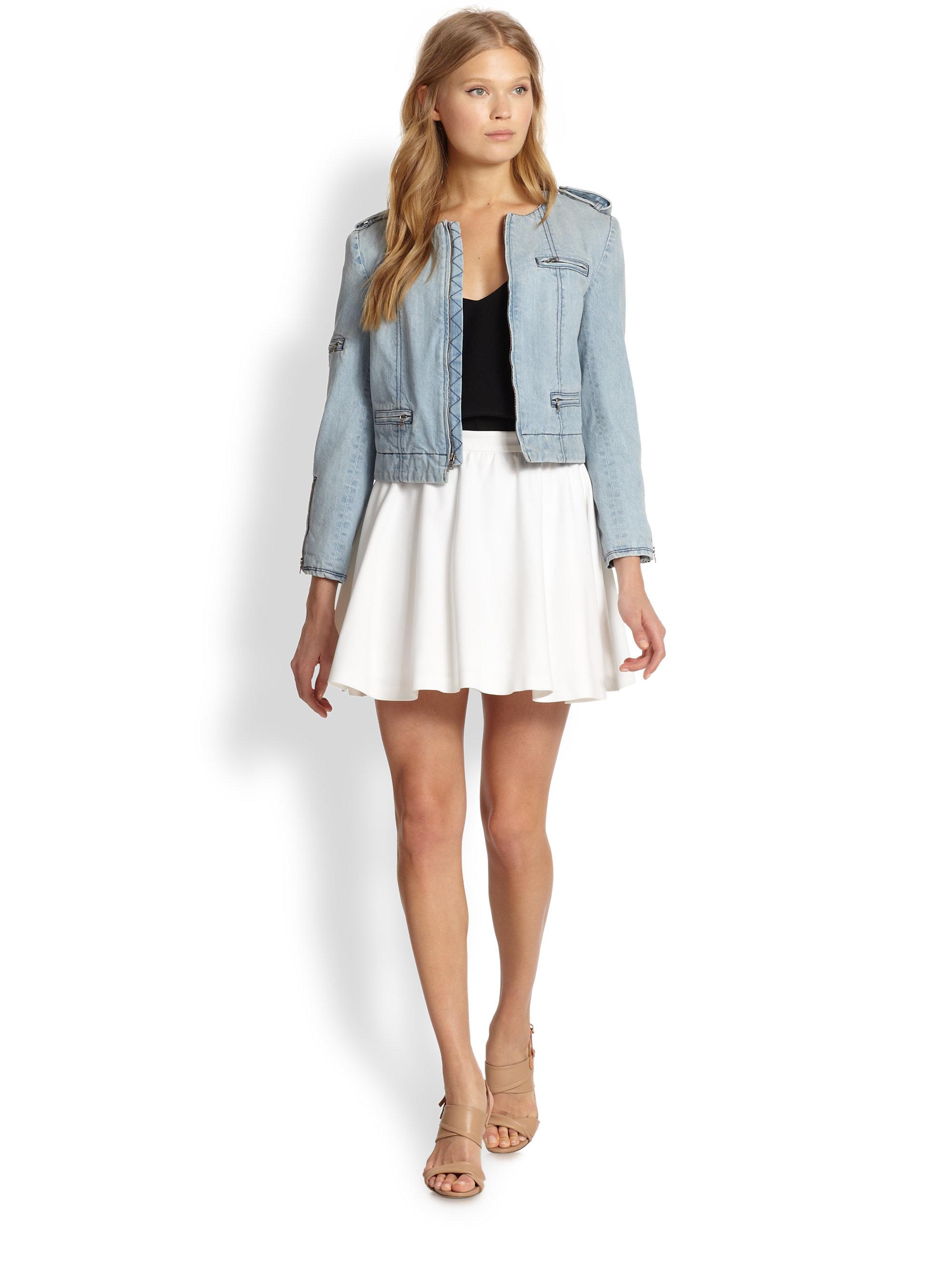 Alice   olivia Blaise Flared Mini Skirt in White | Lyst
