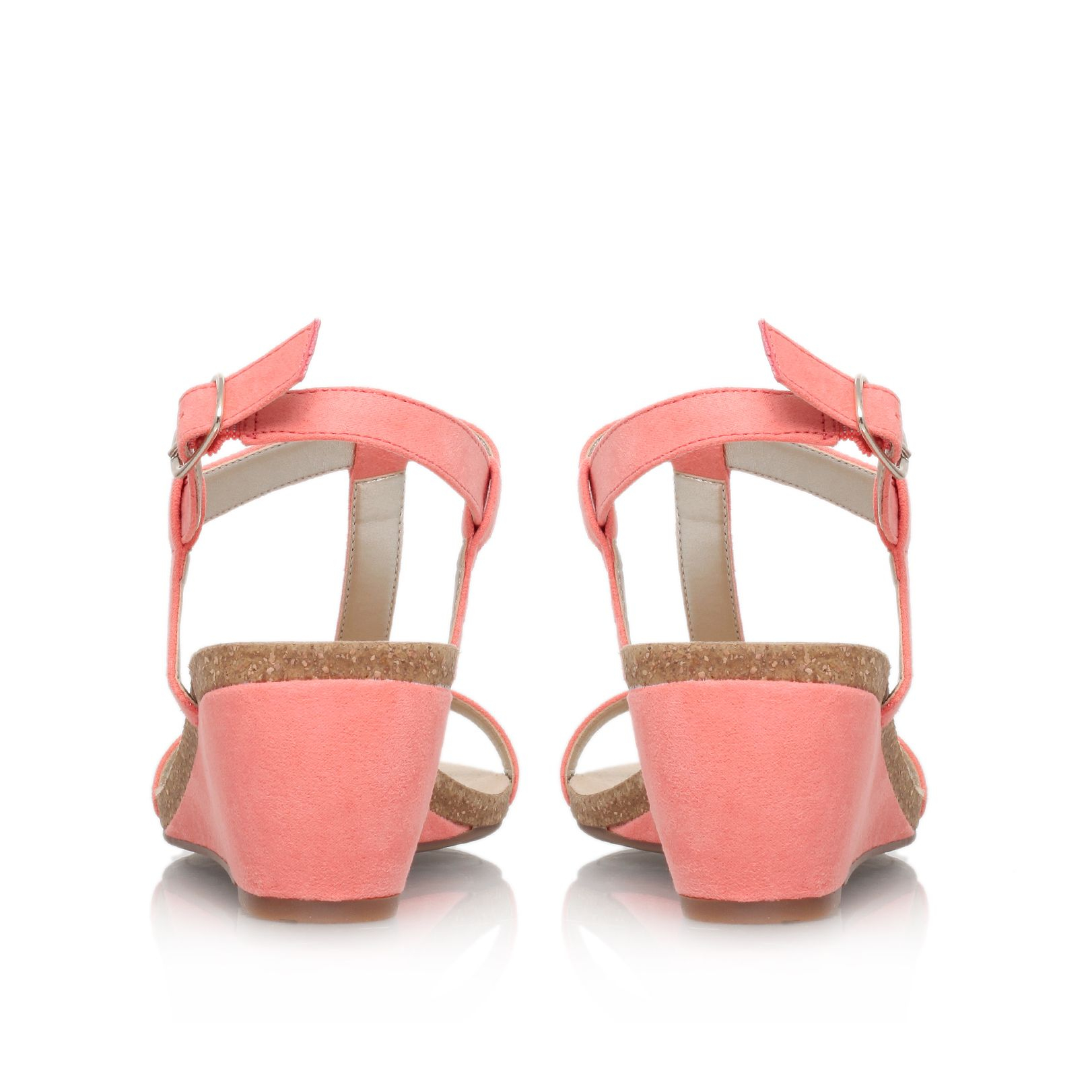 klein jovial2 low wedge heel sandals in pink lyst