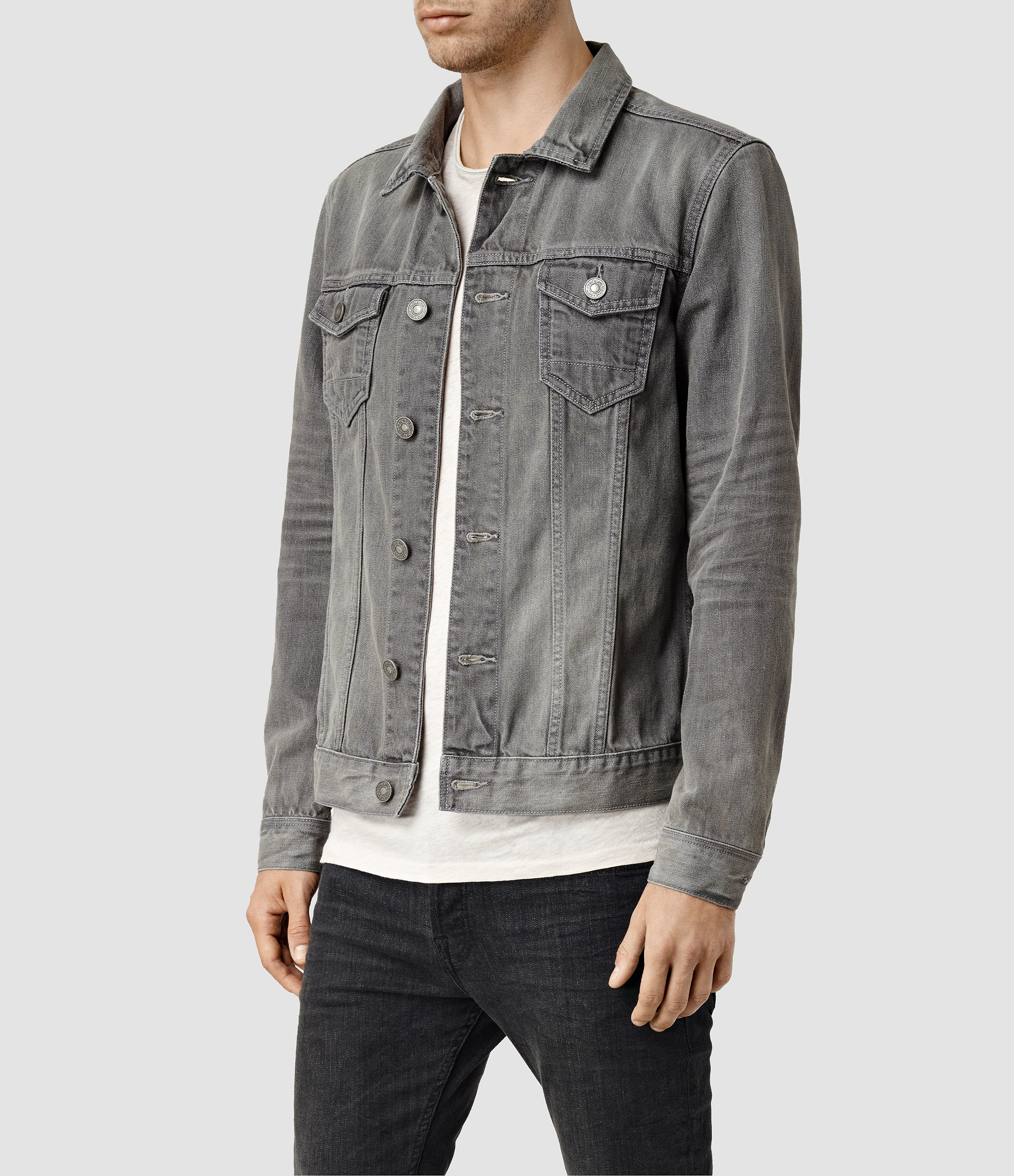 Allsaints Watzman Denim Jacket Usa Usa in Gray for Men | Lyst