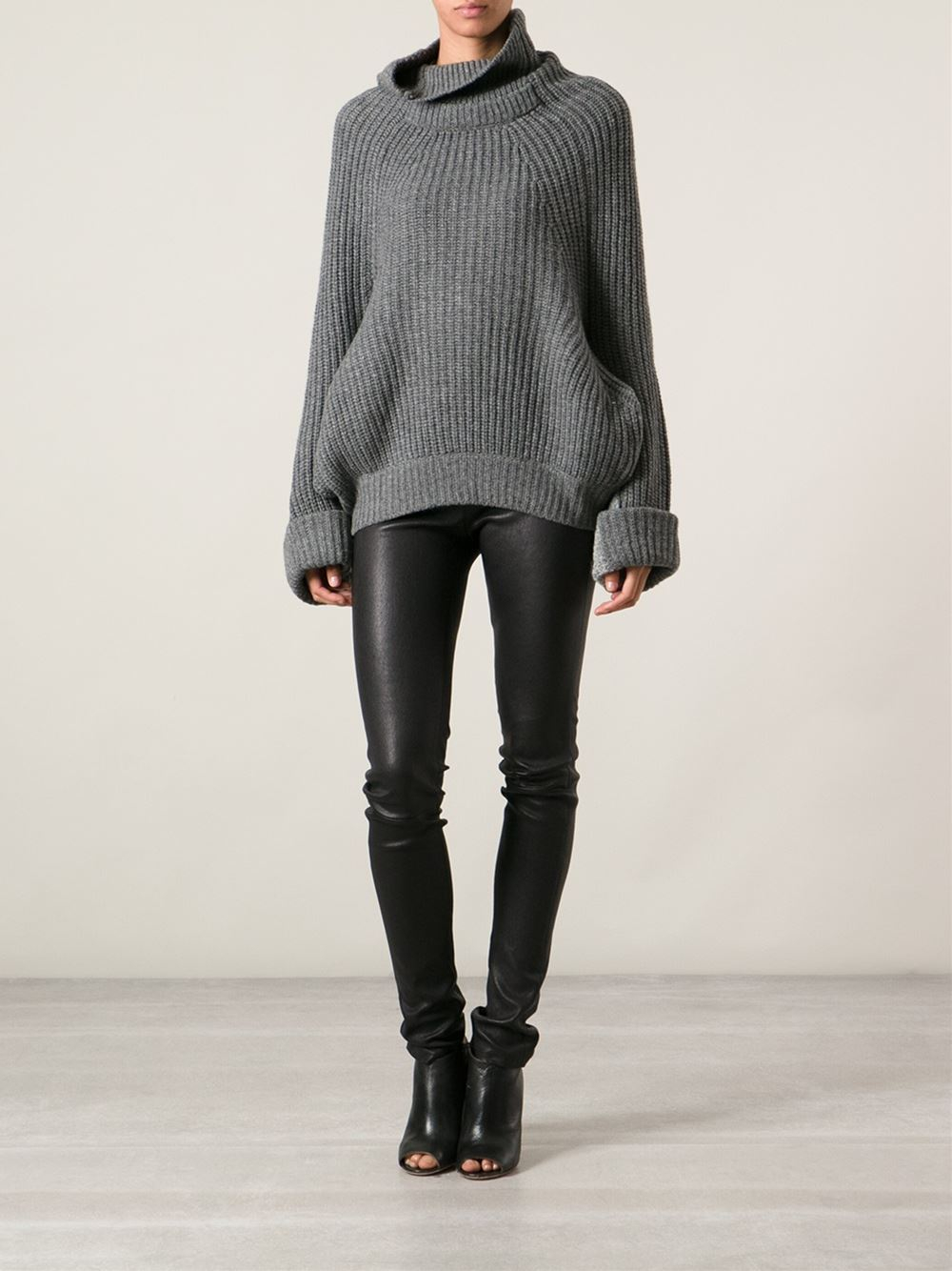 Toga pulla Oversized Turtleneck Sweater in Gray | Lyst