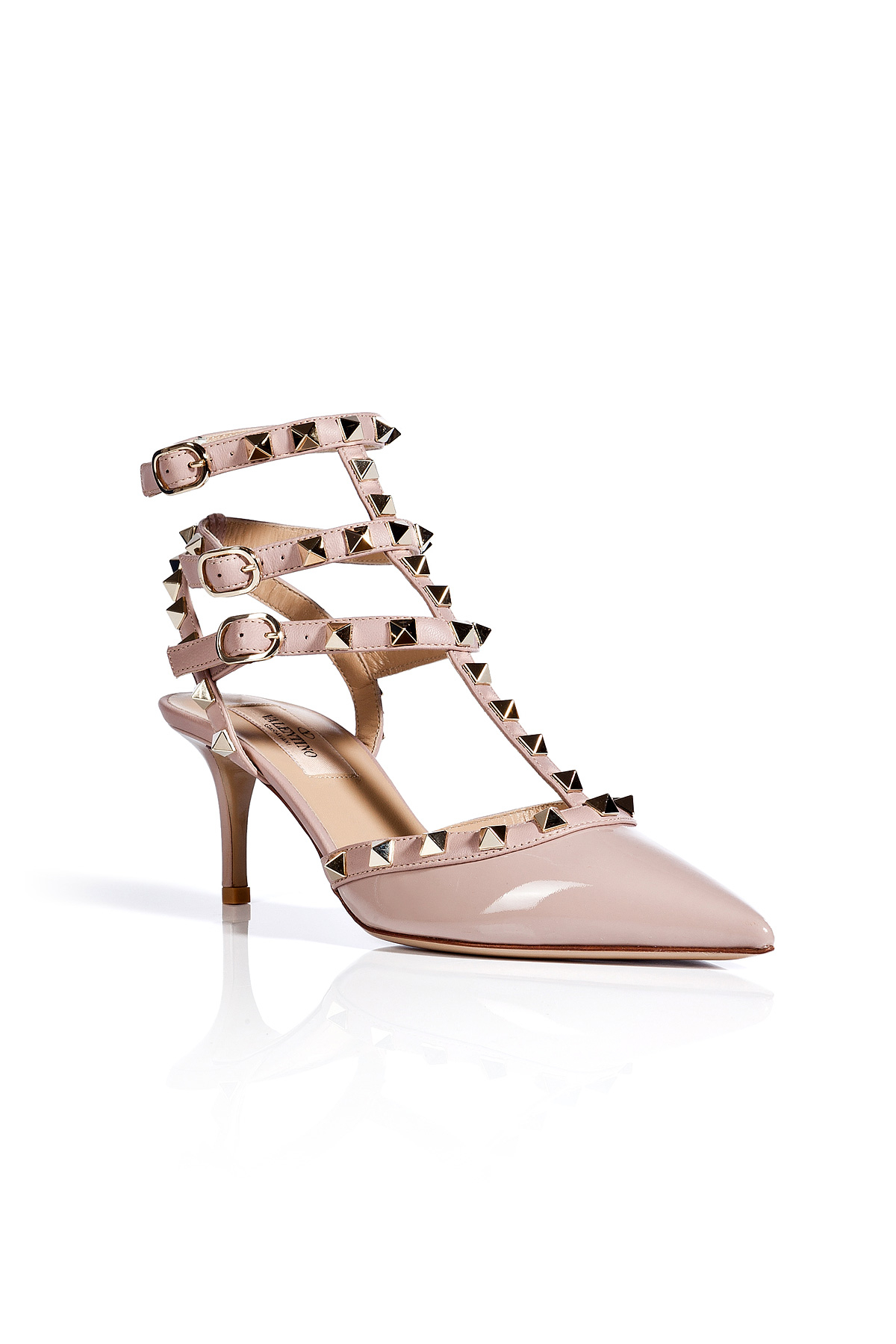 valentino patent leather rockstud kitten heels in pink lyst. Black Bedroom Furniture Sets. Home Design Ideas