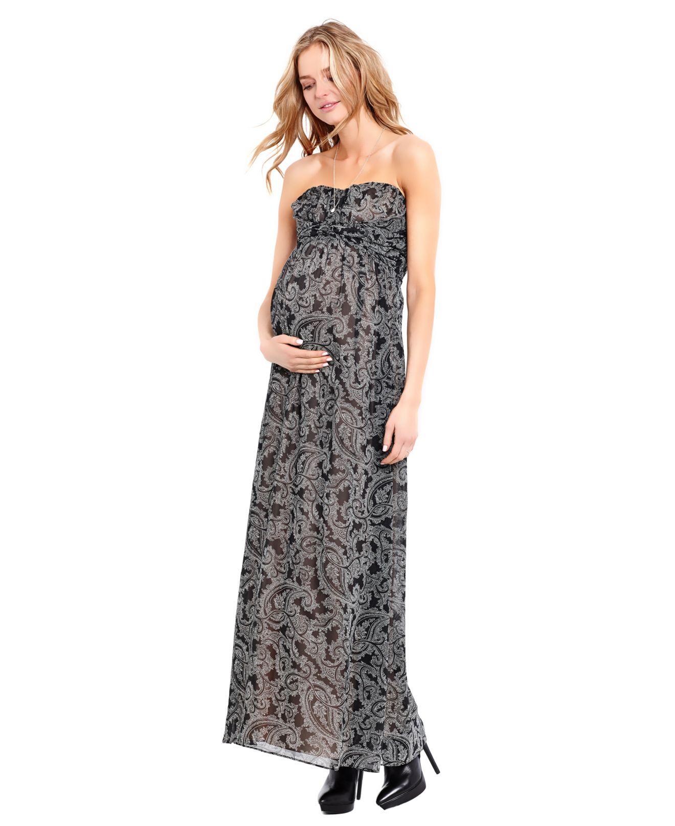 9d4acd2e25 Jessica Simpson Maternity Strapless Paisley-Print Maxi Dress - Lyst
