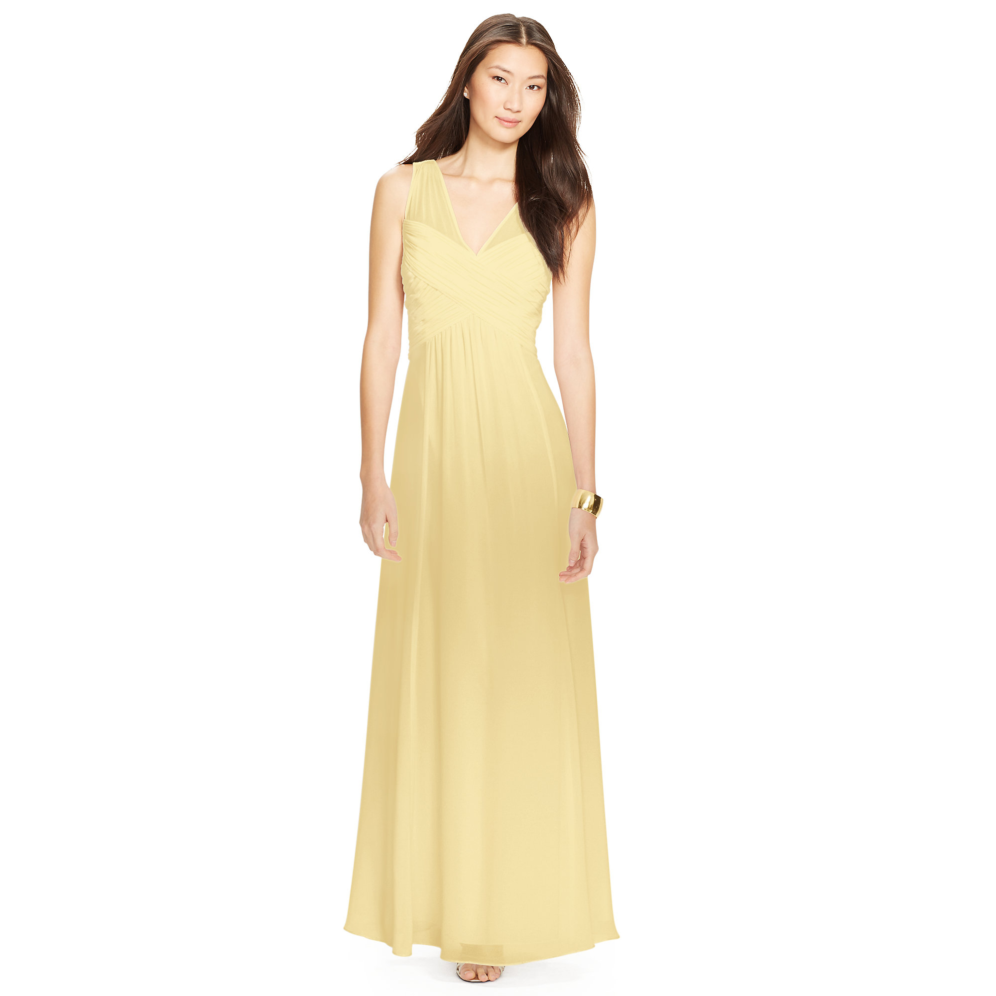 Ralph lauren ruched sleeveless gown in yellow lyst for Tj maxx wedding guest dresses