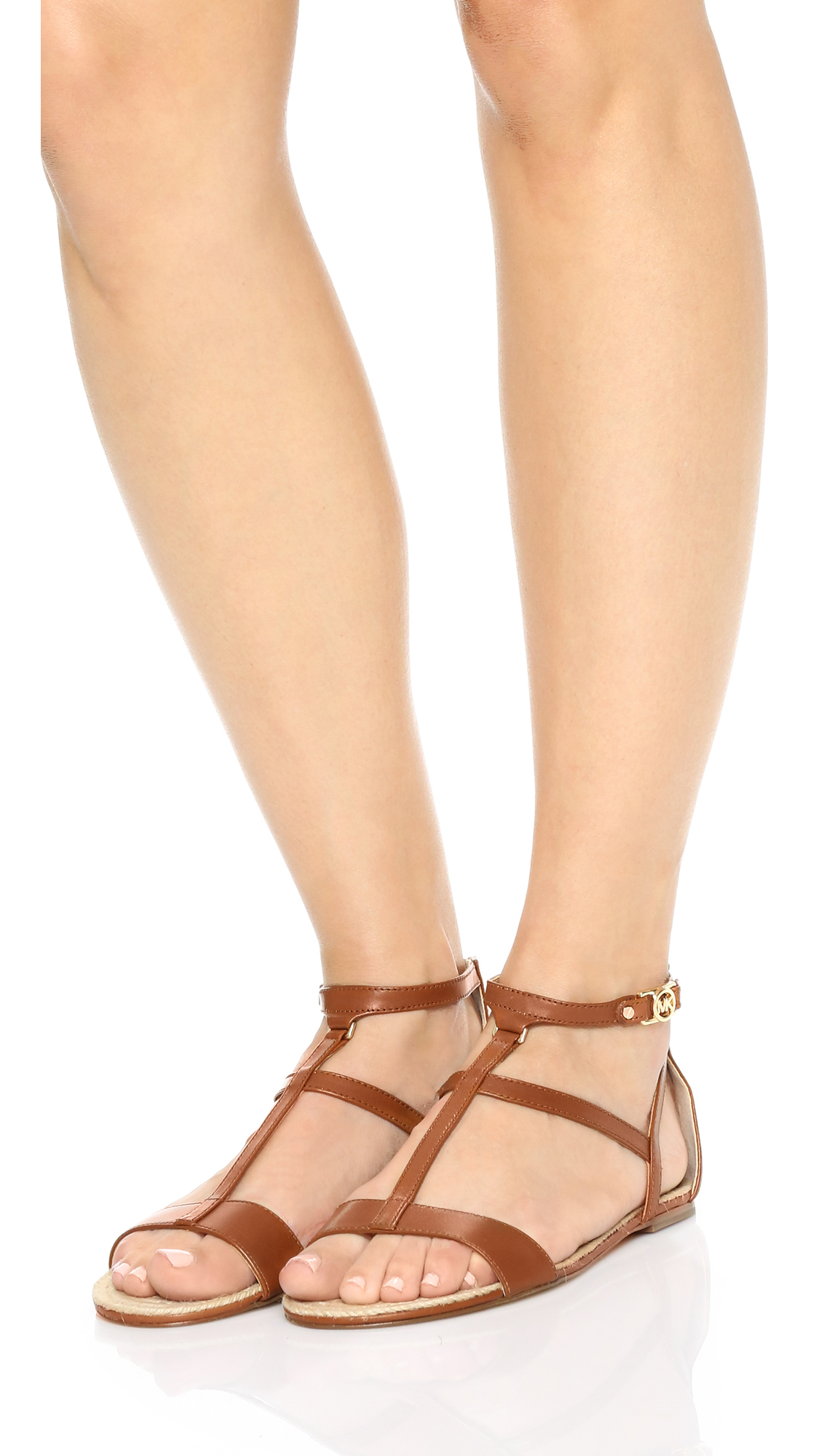6020d495476 Lyst - MICHAEL Michael Kors Bria Flat Sandals in Brown
