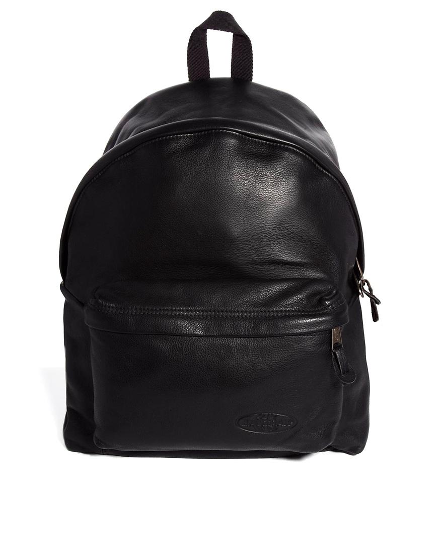 Eastpak Padded Pak'R Leather Backpack in Black for Men | Lyst