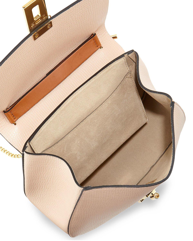 Chlo�� Drew Mini Color-Blocked Shoulder Bag in Brown (BEIGE/CARAMEL ...