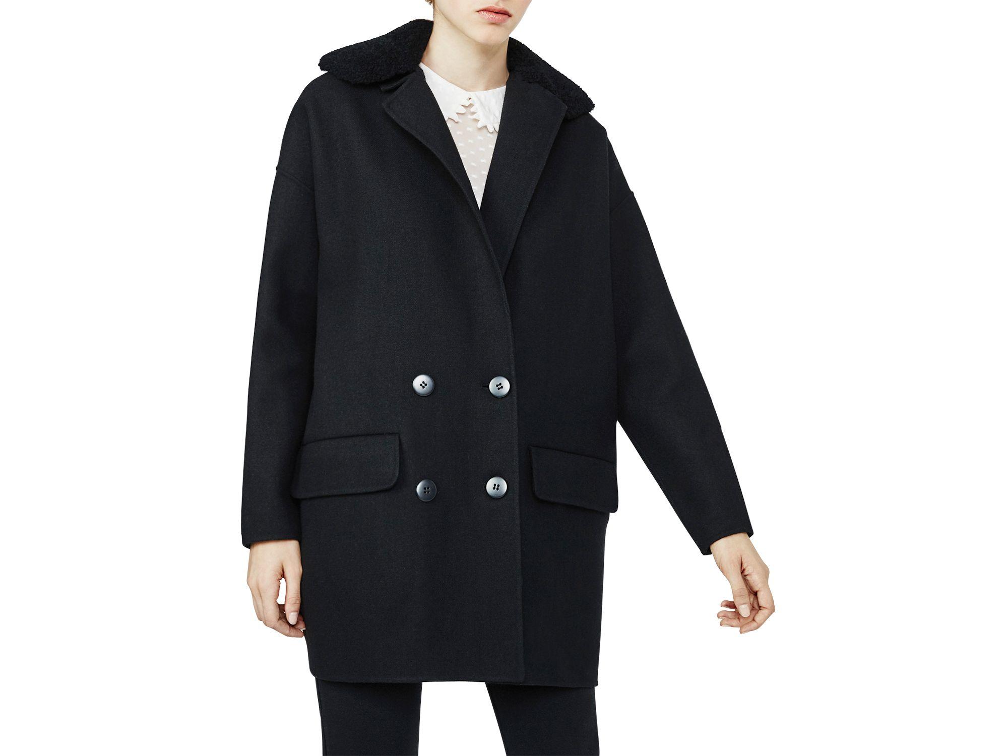Maje Garnison Sheepskin Collar Coat in Black | Lyst