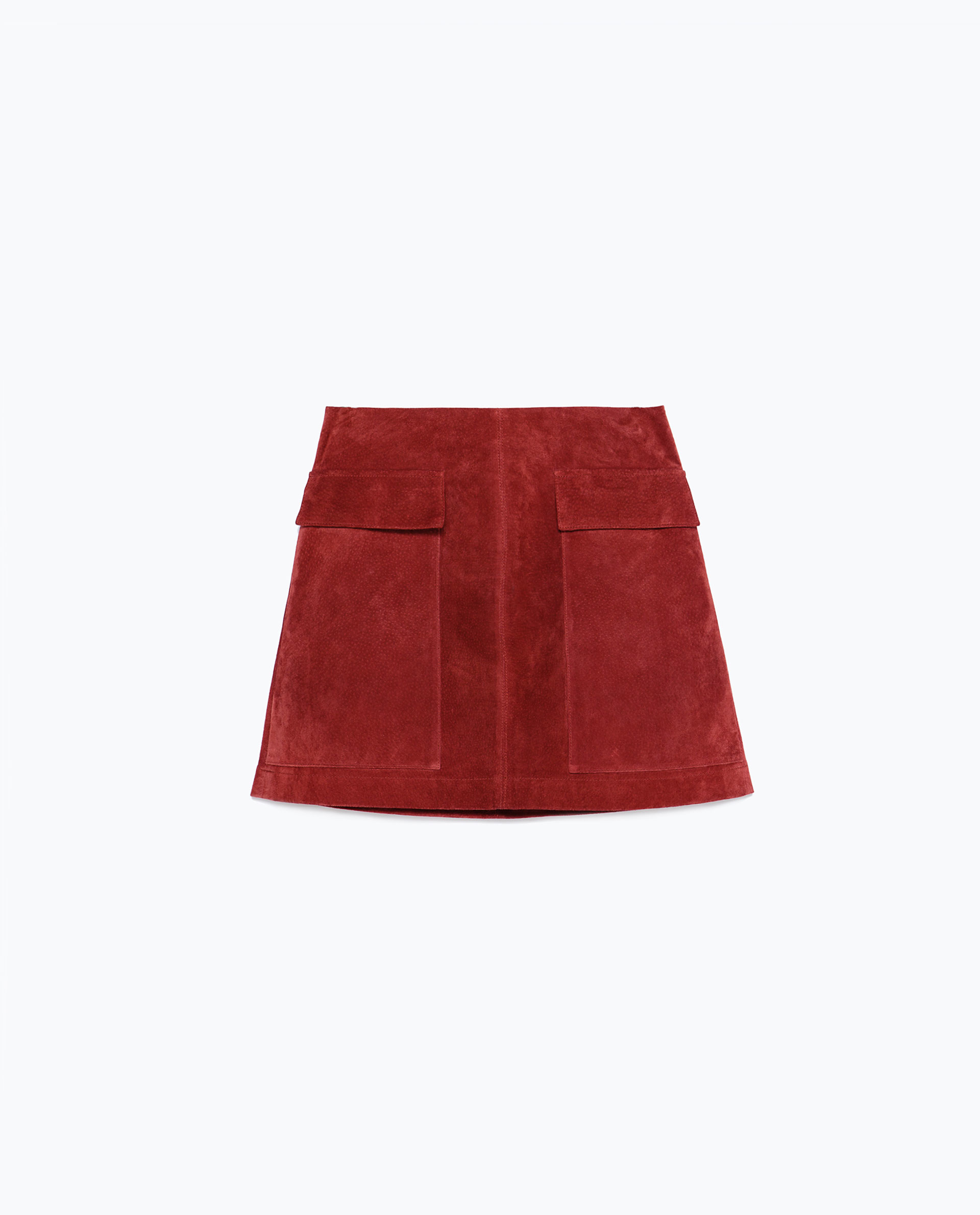 Zara Suede Skirt in Red | Lyst