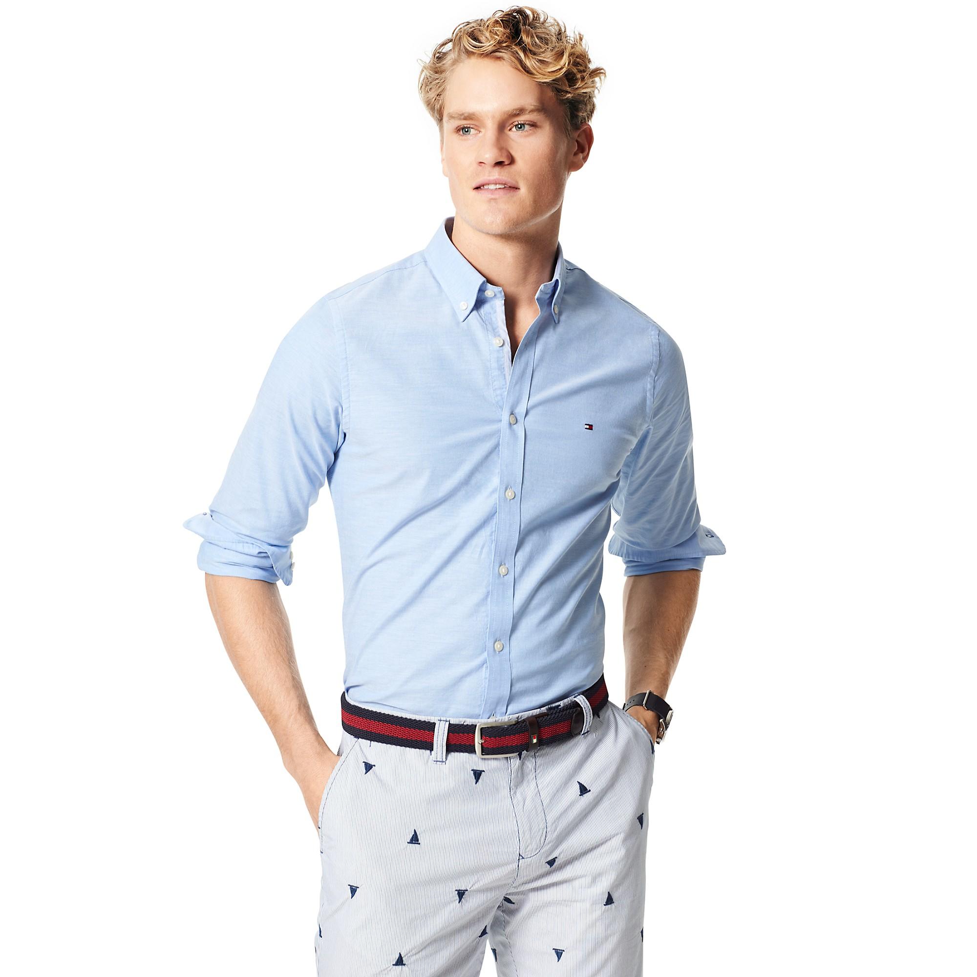 tommy hilfiger slim fit stretch oxford in blue for men. Black Bedroom Furniture Sets. Home Design Ideas