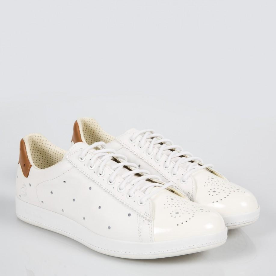 f87f81b7104 Lyst - Paul Smith Women s White Leather  rabbit  Trainers With Tan ...