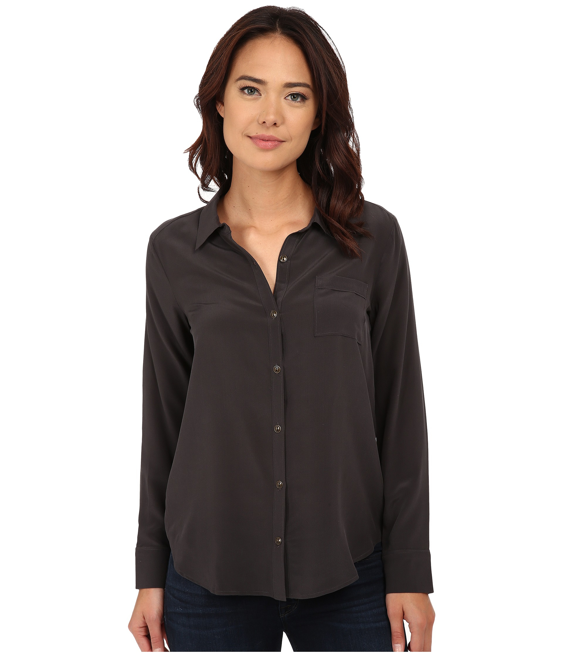 b29e6545d85493 Lyst - Chaser Open Back Button Down Silk Shirt in Black
