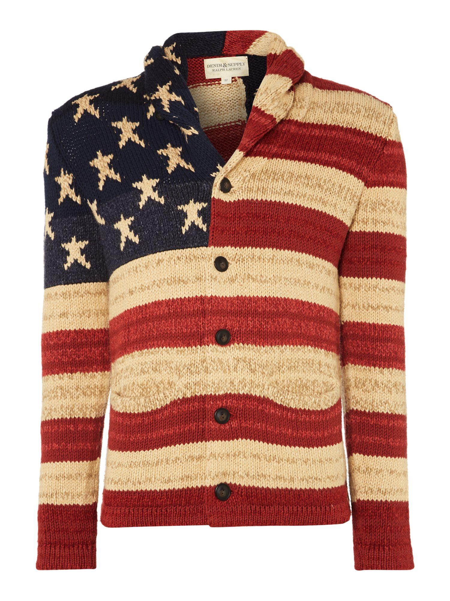 Denim Amp Supply Ralph Lauren Flag Shawl Collar Cotton And