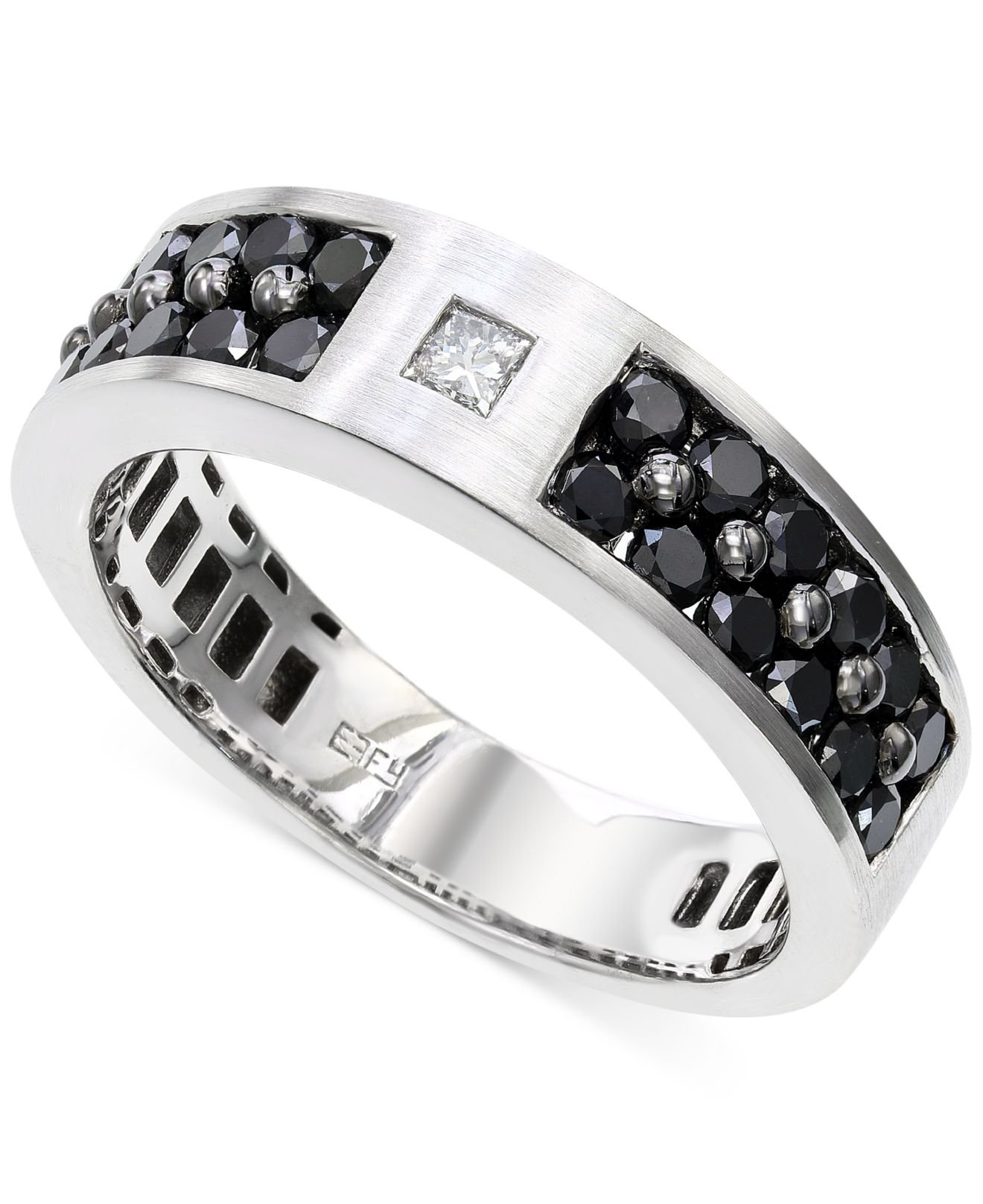 and ring unusual engagement black white diamond round rings