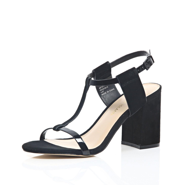 b675ec3c856 River Island Black Suede Mid Block Heel Sandals in Black - Lyst
