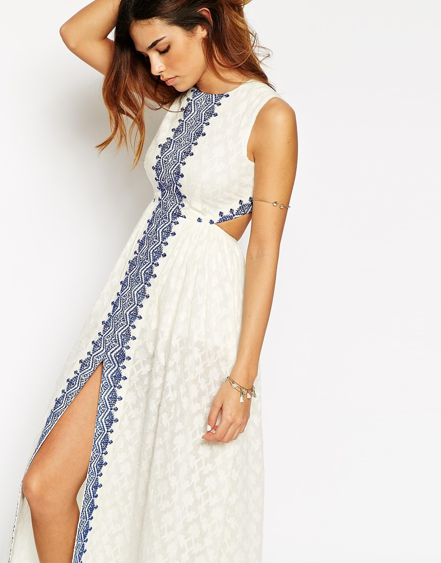 Lyst asos petite maxi dress with festival embroidery and