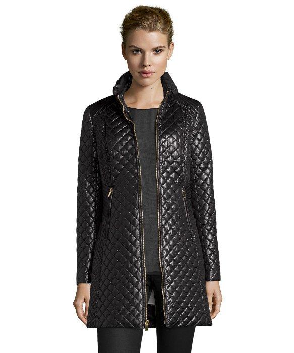 Via Spiga Quilted Coat In Black