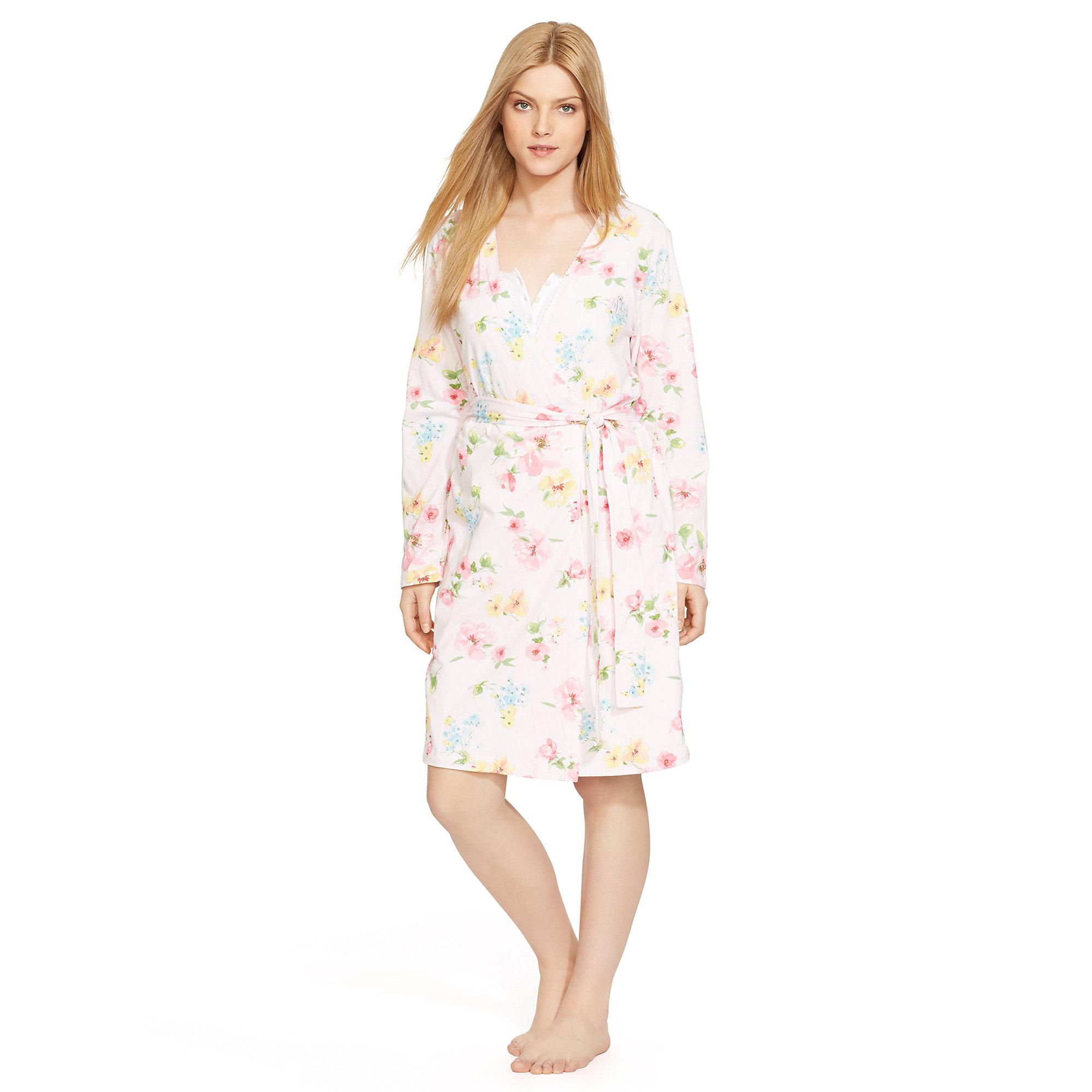 ralph lauren floral cotton robe lyst. Black Bedroom Furniture Sets. Home Design Ideas